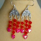 Fuchsia Pink Heart Red Crystal Bead Chandelier Earrings