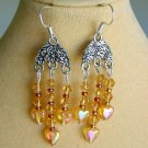 Light Orange Heart Crystal Bicone Bead Chandelier Earrings