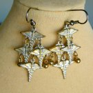 Caduceus Charm Antique Finish Dangle Nurse Medical Health Earrings