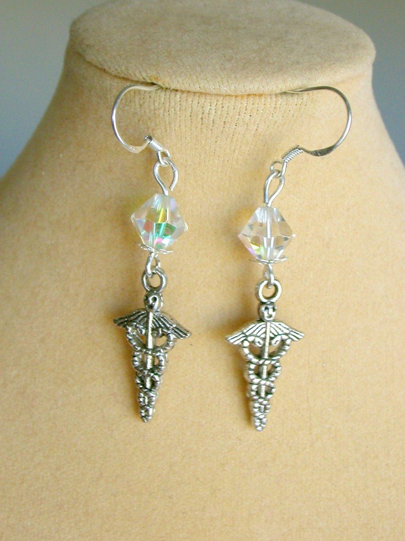Caduceus Medical Nurse Health Crystal Bead Charm Earrings