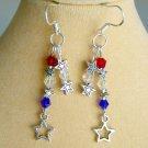 Red White Blue Crystal Dangle Star Charm Earrings