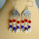 Red White Blue Bicone Crystal Bead Floral Chandelier Earrings