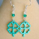 St Patrick's Green Four Leaf Clover Crystal Bead Charm Earrings