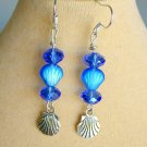 Czech Glass Seashell Bead AB Blue Crystal Charm Earrings