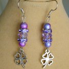 Four Leaf Clover Purple Crystal Glass Bead Charm Lucky Earrings
