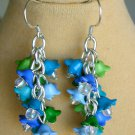 Bell Flower Cha Cha Cluster Blue Aqua Green Earrings