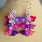 Bell Flower Cluster Purple Pink Fuchsia Bead Cha Cha Earrings