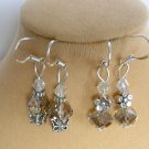 Light Smoky Gray Crystal Bead Butterfly Flower Earrings 2 Pair