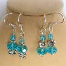 Aqua Blue Crystal Bead Butterfly Flower Earrings 2 Pair