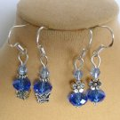 Baby Blue Crystal Butterfly Flower Earrings 2 Pair