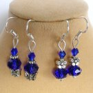 Royal Cobalt Blue Crystal Bead Butterfly Flower Earrings 2 Pair