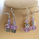 Light Purple Crystal Bead Butterfly Flower Earrings 2 Pair
