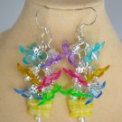 Flower Pastel Yellow Czech Butterfly Bead Cluster Earrings
