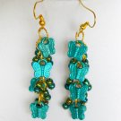 Aqua Blue Butterfly Iridescent AB Bead Cluster Earrings