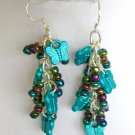 Butterfly Aqua Black Iridescent Bead Dangle Earrings