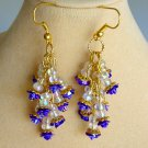 Purple Flower Rose Iridescent Bead Dangle Cluster Earrings