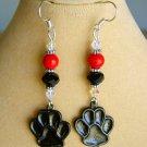 Halloween Black Paw Print Orange - Red Bead Charm Earrings