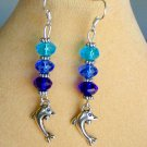 Dolphin Blue and Aqua Crystal Bead Charm Ombre Earrings