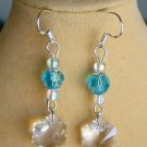 Snowflake Frozen Clear Crystal and Aqua Blue Bead Earrings