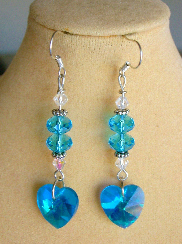 Crystal Heart Aqua Blue AB Iridescent Glass Bead Earrings