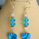 Crystal Heart Aqua Blue AB Iridescent Glass Bead Earrings