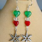 Love Christmas Red Green Heart Bead Snowflake Charm Earrings