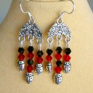 Ladybug Red Black Crystal Bicone Chandelier Lucky Earrings