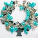 Hematite Cat and Angel Aqua Blue Cha Cha Charm Bracelet