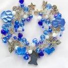 Hematite Cat Angel Paw Butterfly Blue Charm Cha Cha Bracelet