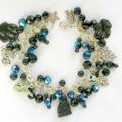 Black Cat Angel Paw AB Aurora Borealis Crystal Bead Charm Bracelet