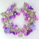 Cat Paw Print Angel Bell Flower Bright Purple Charm Bracelet