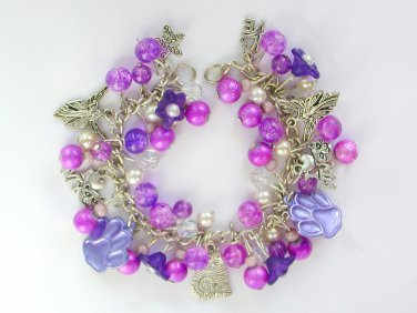 Cat Paw Print Angel Bell Flower Bright Purple Charm Bracelet