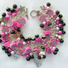 Cat Bright Pink Black Grey Bead Cha Cha Charm Bracelet