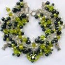 Cat Peridot Green Lampwork Glass Bead and Fish Charm Bracelet