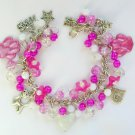 White Cat and Paw Flower Bright Pink Charm Bracelet