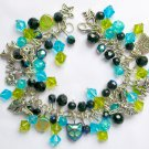 Cat Aqua Blue Peridot Green Black Iridescent Charm Bracelet