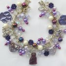 Cat Czech Bead and Paw Print Purple Charm Bracelet