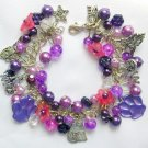 Cat Angel and Paw Bell Flower Purple Pink Bead Charm Bracelet