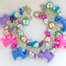 Dog and Apple Purple Pink Blue Pony Bead Cha Cha Bracelet
