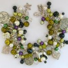 Czech Glass Dog Bead Olive Green Charm Cha Cha Bracelet