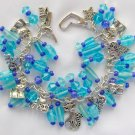I Love my Cat Aqua Blue Violet Glass Charm Cha Cha Bracelet