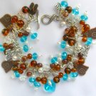 Brass Tabby Cat Heart Aqua Crystal and Brown Charm Bracelet