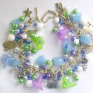 Cat and Flower Pastel Light Blue Purple Green Charm Bracelet