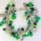 Cat and Dragonfly Bright Green Charm Cha Cha Bracelet