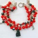Czech Black Cat Dark Orange - Red Moon Charm Bracelet
