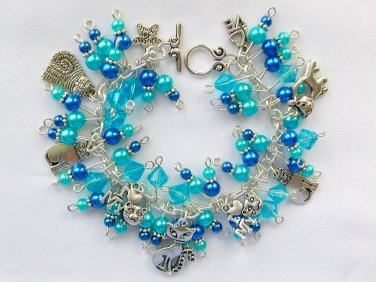 Cat Lover Aqua Blue Glass Pearl Bead Charm Bracelet