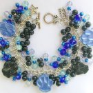 Paw Print Blue and Black Animal Lover Charm Bracelet Set