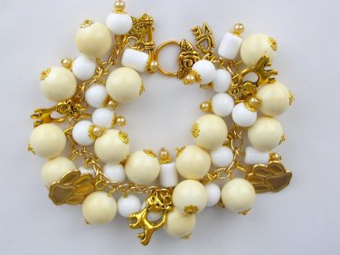Cat Paw Yellow White Chunky Cha Cha Charm Bracelet