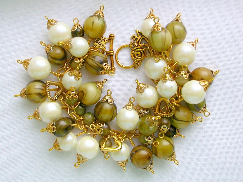 Vintage Bead Taupe Olive Green White Gold Heart Charm Bracelet
