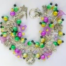 Cameo Flower Purple Green Yellow Black Charm Bracelet